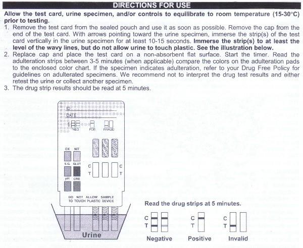 5 panel drug test instructions